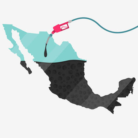 Map of Mexico being fueled by oil. Gas pump fueled map. On the map there is glass reflection. Conceptual. Oil producing or importing countries.