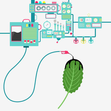 Machinery of factory refining oil and spilling oil on the leaf. Oil industry. Biofuel. Conceptual. Illustration
