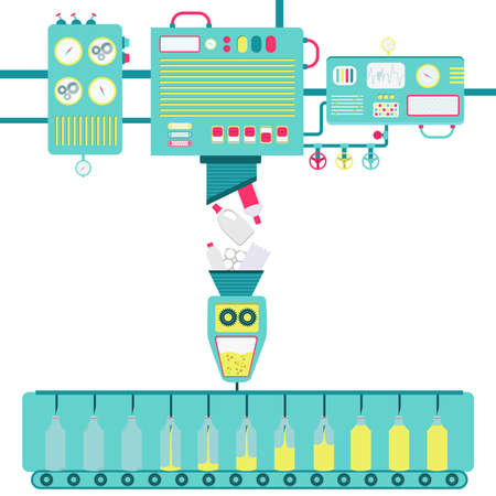 Illustration of machinery processing plastic bottles and turning into fuel