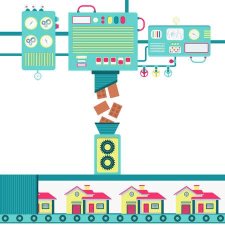 Illustration of machinery processing masonry bricks and turning into houses.