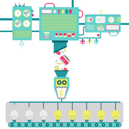 Illustration of machinery processing used batteries and turning into electricity for lamps.