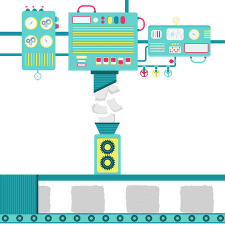 Illustration of machinery processing paper and turning into stack of recycled papers.