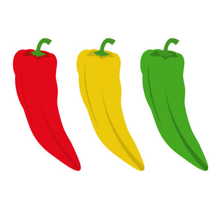 Three chilli peppers isolated. Red, yellow and green chilli peppers. White background.