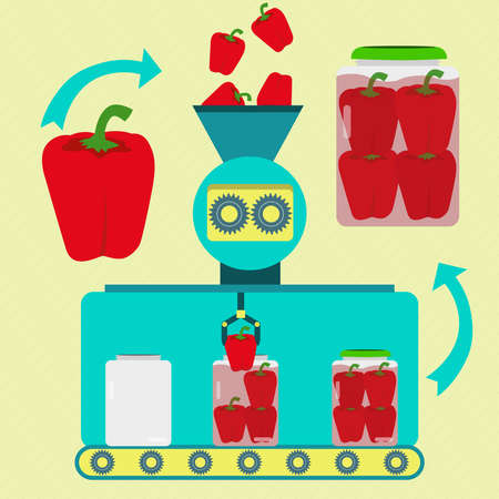 Pickles series production. Bell Pepper Pickles series production. Fresh red bell peppers being processed. Bottled pickled bell pepper. Ilustrace
