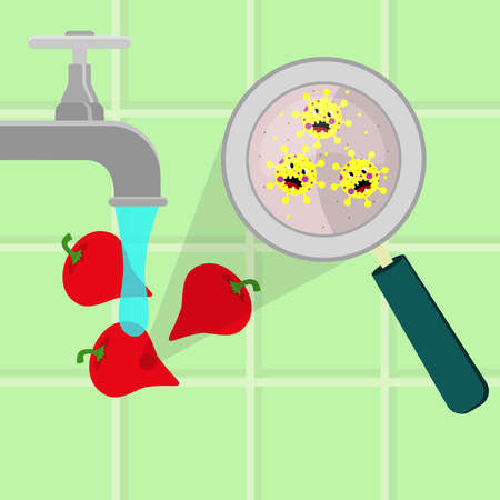 Pepper pout contaminated with cartoon microbes being cleaned and washed in a kitchen. Microorganisms, virus and bacteria in the vegetable enlarged by a magnifying glass. Running tap water. Angry microbes cartoon.