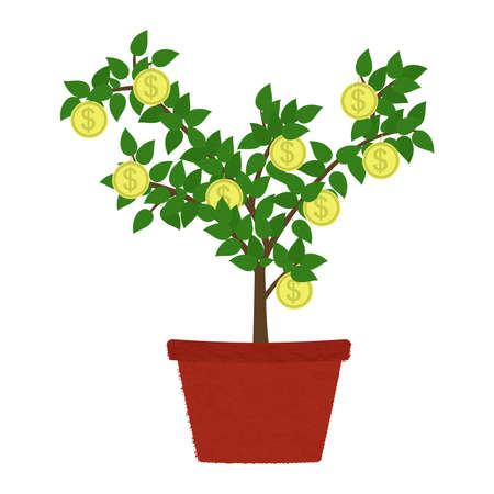 Coin tree in clay vase. Isolated. White background. Conceptual illustration. Иллюстрация