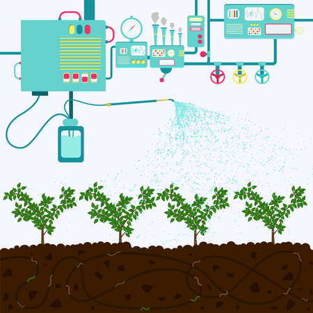 Water treatment to irrigate agriculture. Composting process with organic matter, microorganisms and earthworms. Fallen leaves on the ground.