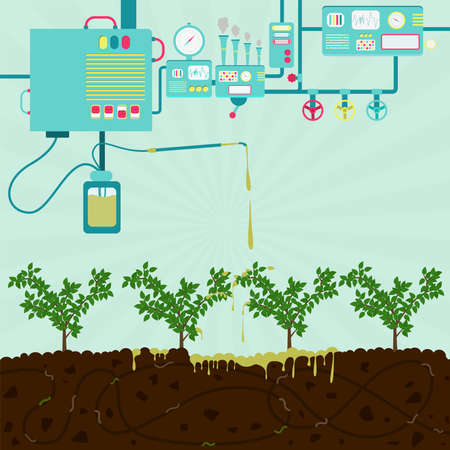 Chemical plant producing toxic product. Toxic product polluting planting and soil. Composting process with organic matter, microorganisms and earthworms. Fallen leaves on the ground. Illustration