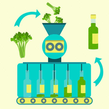 Parsley sauce series production. Factory of parsley sauce. Fresh parsley being processed. Bottled parsley sauce. Иллюстрация