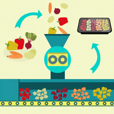 Industrial production of pre-cut vegetables. Fresh bell pepper, beet, potato and carrot processed and sliced. Sliced vegetables packed in tray. Illustration