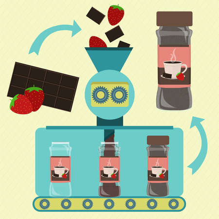 Hot chocolate with strawberry powder line series production. Factory of canned hot chocolate with strawberry powder. Chocolate bar and strawberry being processed. Cup printed on the packing. Иллюстрация