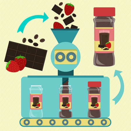 Strawberry, coffee and chocolate powder line series production. Factory of canned coffee, chocolate and strawberry powder. Strawberry fruit, chocolate bar and fresh bean coffee being processed and ground. Packing powder.