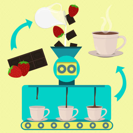 Hot chocolate milk cup with strawberry line series production. Jug of milk. Factory of hot chocolate milk cup with strawberry. Chocolate bar, milk and strawberry being processed. Drink served in the cup. Иллюстрация