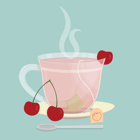 Cup of cherry tea. Tea sachet with group of cherries on the saucer. Smoke on the drink. Spoon in front of cup.