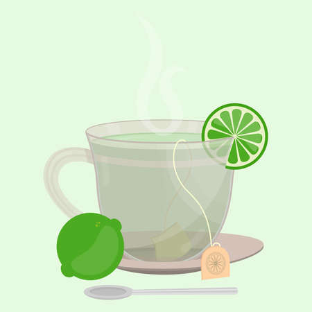 Cup of lemon tea. Tea sachet with lemon on the saucer. Slice of lemon in the cup. Smoke on the drink. Spoon in front of cup.