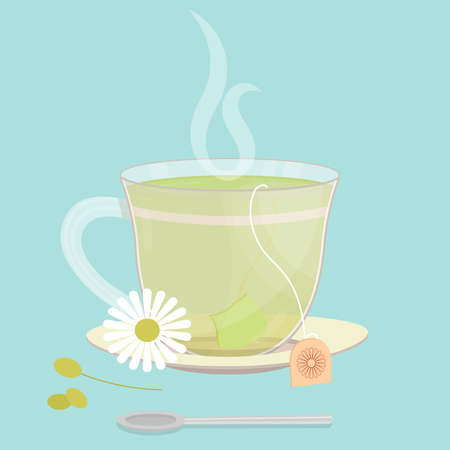 Cup of chamomile tea. Tea sachet with chamomile flower on the saucer. Smoke on the drink. Spoon in front of cup. 일러스트
