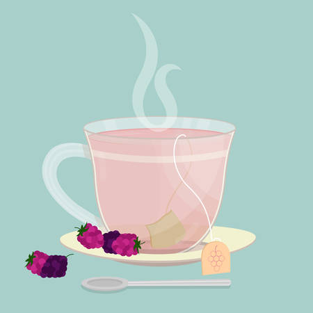 Cup of raspberry and blackberry tea. Tea sachet with raspberries and blackberries on the saucer. Smoke on the drink. Spoon in front of cup.