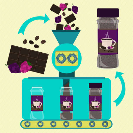 Coffee and chocolate powder with berries line series production. Factory of canned coffee and chocolate powder with raspberry and blackberry. Berry fruit, chocolate bar and fresh bean coffee being processed and ground. Packing product. Иллюстрация