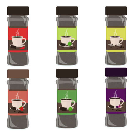 Set of powdered hot drink. Six flavor powder: chocolate with red pepper, chocolate with mint and coffee, coffee espresso, chocolate with spearmint, chocolate with coffee and berries fruit. Isolated. W