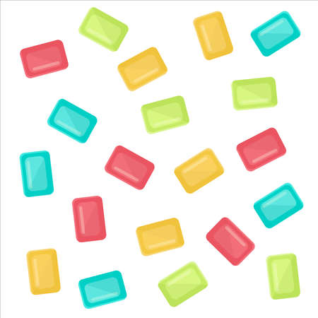 Assorted and multicolored candies. Blue, red, orange and green candies. Isolated. White background.