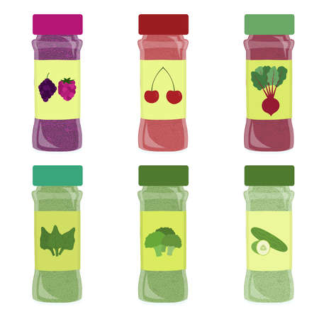 Set of condiment pot. Six seasoning powder: raspberry and blackberry, cherry, beet, spinach, broccoli, cucumber. Isolated. White background. Иллюстрация