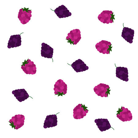 Various blackberries and raspberries spread over a white background. Isolated.