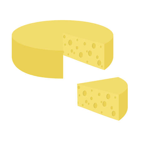 Piece of Swiss cheese with a slice. White background. Isolated.