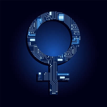 Woman symbol filled with electronic circuit. Blue and light background.