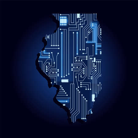 Contour map of Illinois with a technological electronics circuit. USA state. Blue background.