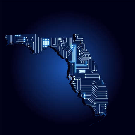 Contour map of Florida with a technological electronics circuit. USA state. Blue background.