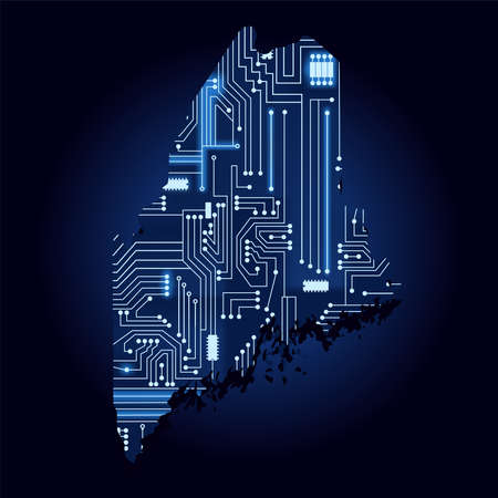 Contour map of Maine with a technological electronics circuit. USA state. Blue background.
