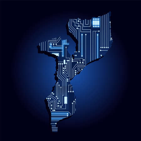 Contour map of Mozambique with a technological electronics circuit. African country. Blue background.