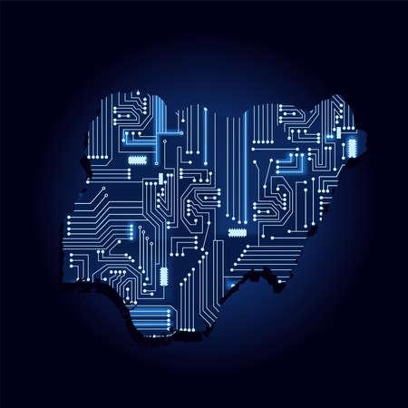Correspondencia de contorno de Nigeria con un circuito de electrónica tecnológica. País africano. Fondo azul.