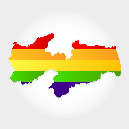 Lgbt flag in contour of Paraiba with light grey background. Brazilian state. Northeast of Brazil.