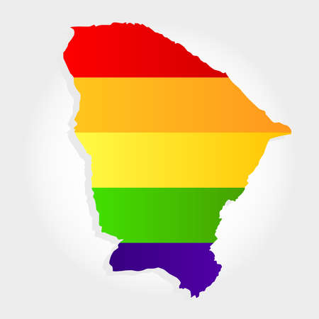 Lgbt flag in contour of Ceara with light grey background. Brazilian state. Northeast of Brazil.