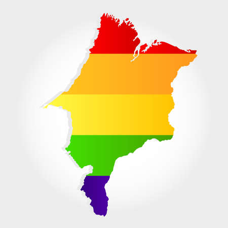 Lgbt flag in contour of Maranhao with light grey background. Brazilian state. Northeast of Brazil.