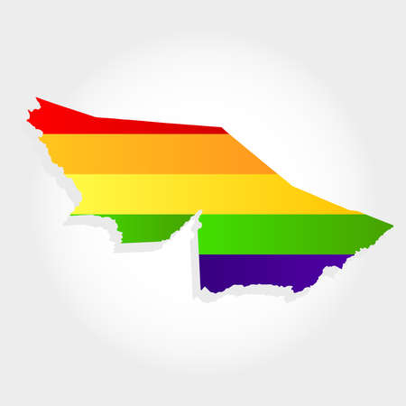Lgbt flag in contour of Acre with light grey background. Brazilian state. North of Brazil.