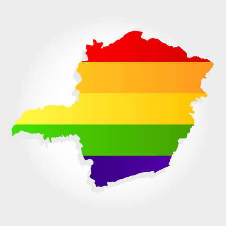 Lgbt flag in contour of Minas Gerais with light grey background. Brazilian state. Southeast of Brazil. Иллюстрация