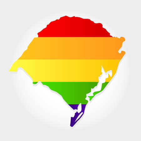 Lgbt flag in contour of Rio Grande do Sul with light grey background. Brazilian state. South of Brazil.  Иллюстрация