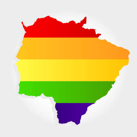 Lgbt flag in contour of Mato Grosso do Sul with light grey background. Brazilian state. Midwest of Brazil.  Иллюстрация