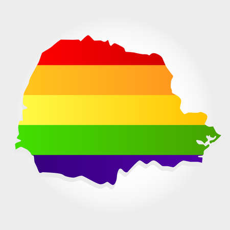 Lgbt flag in contour of Parana with light grey background. Brazilian state. South of Brazil.  Иллюстрация