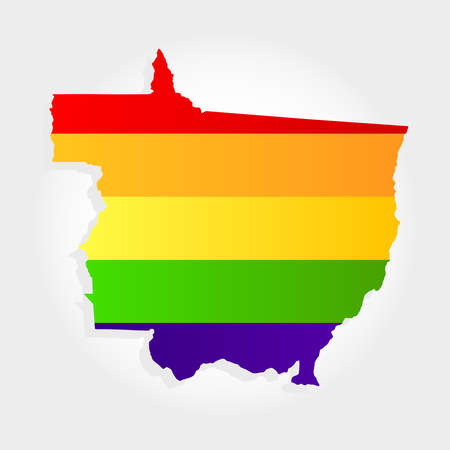 Lgbt flag in contour of Mato Grosso with light grey background. Brazilian state. Midwest of Brazil.