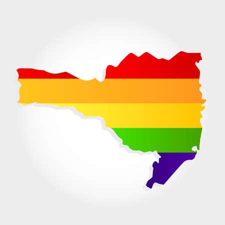 Lgbt flag in contour of Santa Catarina with light grey background. Brazilian state. South of Brazil.  Иллюстрация