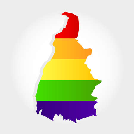 Lgbt flag in contour of Tocantins with light grey background. Brazilian state. North of Brazil.