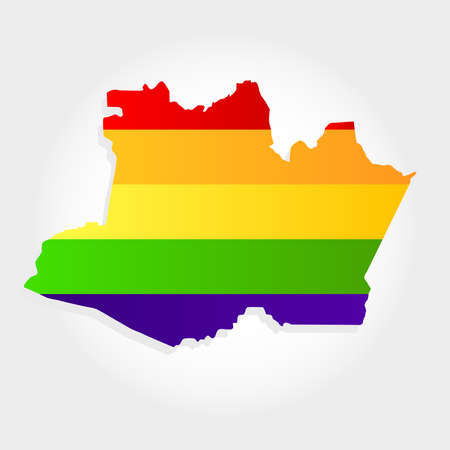 Lgbt flag in contour of Amazonas with light grey background. Brazilian state. Northeast of Brazil. Illustration