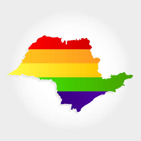 Lgbt flag in contour of Sao Paulo with light grey background. Brazilian state. Southeast of Brazil.