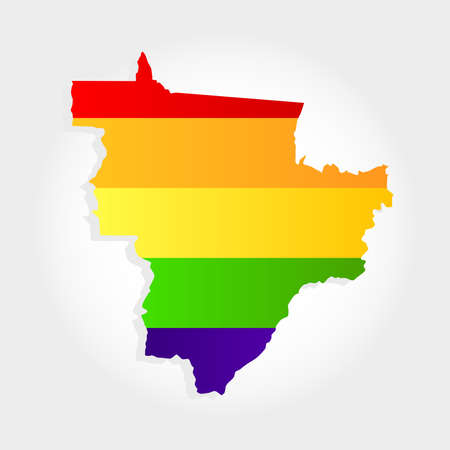 Lgbt flag in contour of Midwest of Brazil with light grey background. Brazilian region. Center west of Brazil.