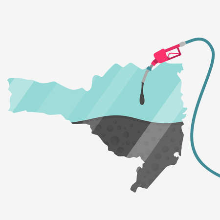 Map of Santa Catarina being fueled by oil. Gas pump fueled map. On the map there is glass reflection. Brazilian state. Conceptual. Oil producing or importing regions. Иллюстрация