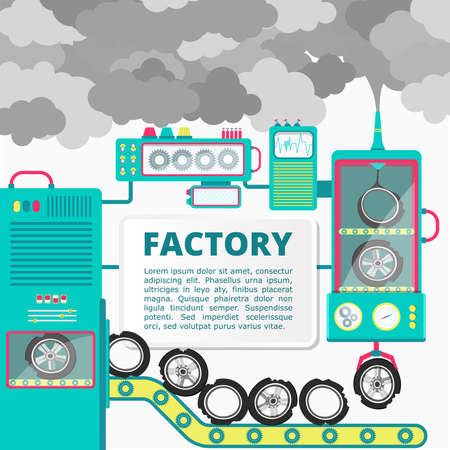 Factory showing the tires being turned into polluting smoke. Blank space for insert text. Conceptual illustration.