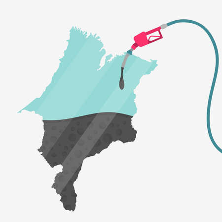 Map of Maranhao being fueled by oil. Gas pump fueled map. On the map there is glass reflection. Brazilian state. Conceptual. Oil producing or importing regions. Illustration